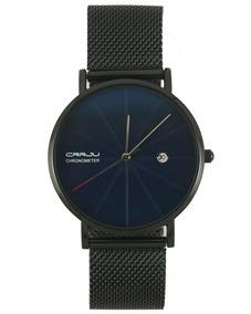 Reloj Crrju Air En Negro Con Cara Azul Para Caballero