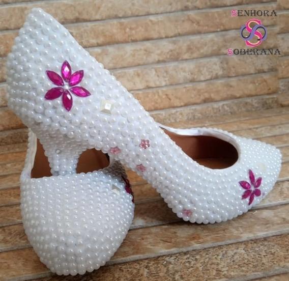 Sapato Meia Pata Branco E Rosa Diva (noivas)(formatura)