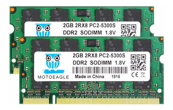Memoria Ram 4gb Ddr2 667 Mhz Pc2-5300 (2x2gb) Sodimm Motoeagle 2rx8 Pc2-5300s Cl5