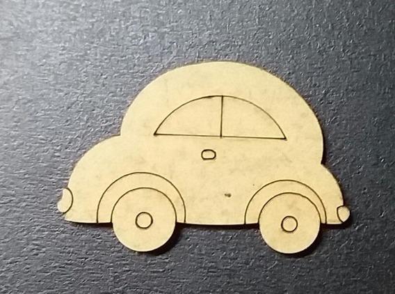 Kit 8 Pçs. Carro Fusca Mdf Cru Decoração Aplique 05 Cm Md04