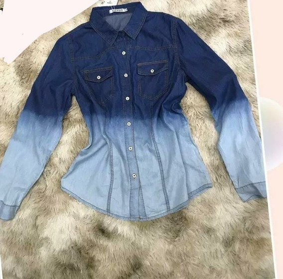 Camisa Jeans Feminina Lavar Degrade Primavera Importado L006