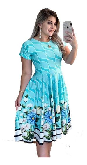 Vestido Estampado Moda Comportada Evangélica, Plus Size