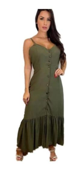 Vestido Longo Com Botão E Alça Regulável Blogueira Top