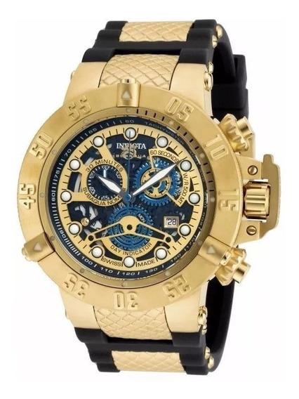 Relógio Invicta 18526 Noma Iii Preto E Dourado 18k Original