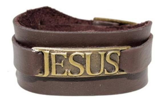 Bracelete De Couro - Jesus - Presente Gospel Evangélico