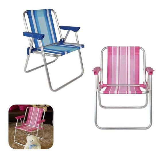 Kit 2 Cadeira Infantil Alta Alumínio Rosa Azul Praia - Mor