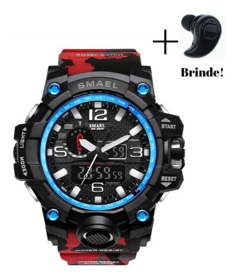 Relógio Masculino Militar Camuflado Vermelho Smael + Brinde!