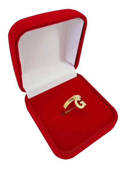 Anel Feminino Em Ouro 18kl/750 Pingente De Letra