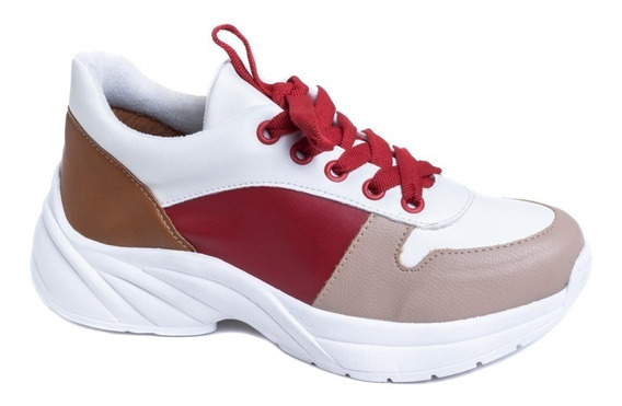 Tênis Chunky Sneaker Em Napa Branco, Vermelho E Caramelo