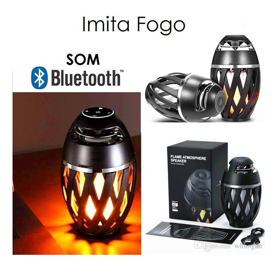 Luminaria Lareira Fogo Decoração Com Som Bluetooth