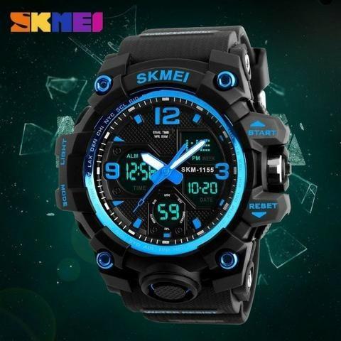 Relógio Skmei Digital Analogico Azul Led A Prova Dágua