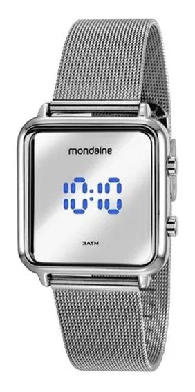 Relógio Feminino Prata Mondaine Digital Led Quadrado Pequeno