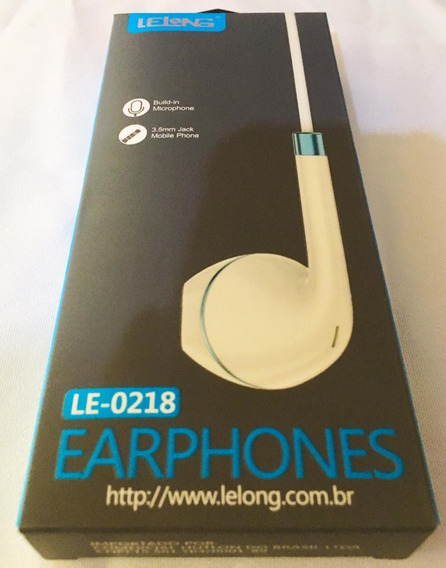 Fone De Ouvido Lelong Le-0218 Earphones Novo Frete Grátis