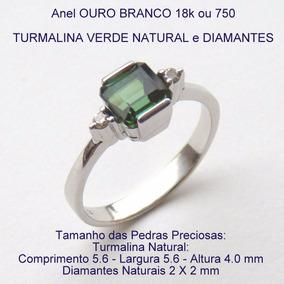 Anel De Ouro Branco 18k Com Turmalina E Diamante 1888
