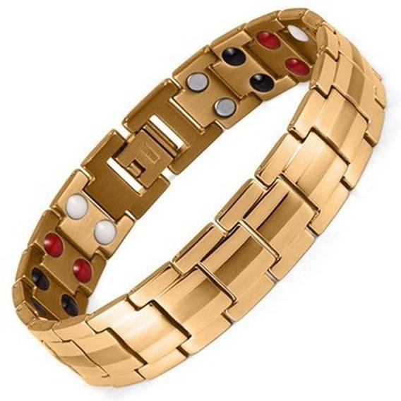 Pulseira Dourada Ima Magnetica Saúde Equilíbrio Terapia