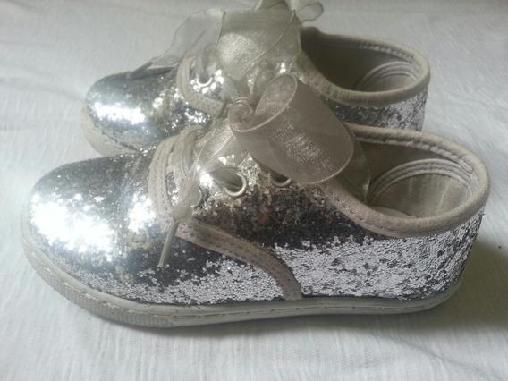 Zapatos Plateados Para Niñas