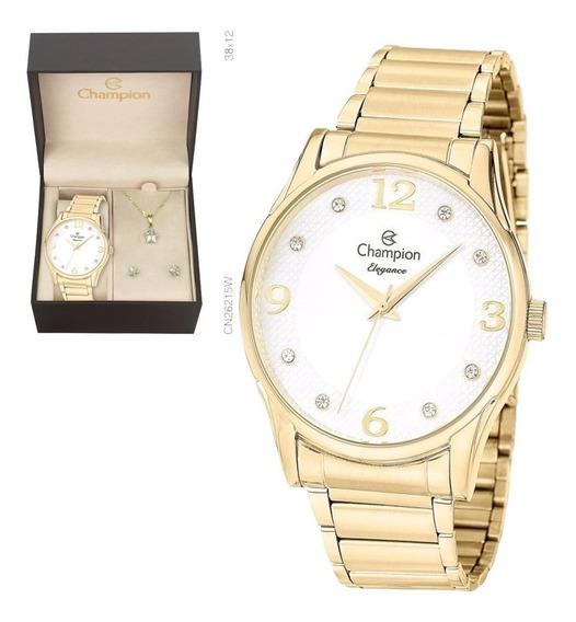 Relógio Champion Feminino Dourado Cn26215w + Colar E Brincos
