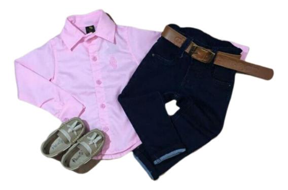 Conjunto Masculino Camisa Social Infantil + Calça E Cinto
