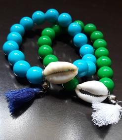 Conjunto Pulseiras Bolas E Búzios Verde E Azul