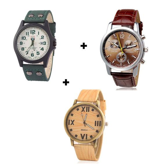 Kit Com 3 Relógios Masculinos Diversos Baratos E Bonitos