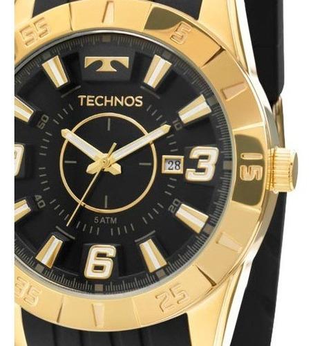 Relógio Masculino Technos Preto Dourado Silicone 2115kza/8p Original C/ Garantia