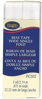 Cinta Al Bies De Doblez Simple De 2,2cm Blanco Pc202 Wrights