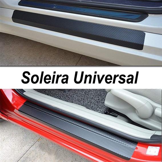 Kit Adesivo Protetor Fibra Carbono Porta De Carro Universal