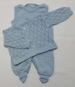 Conjunto Bebê Tricot Ponto Aberto Azul Bebê Tam. P