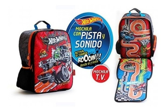 Mochila Hot Wheels Con Pista Y Luces Original