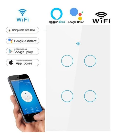 Interruptor Wifi 4 Botoes Touch Branco Google Home (sonoff)