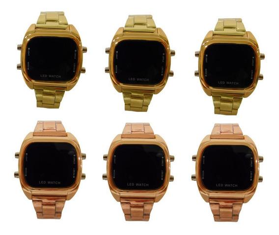 Kit 10 Relógios Digital Led Unissex Pulseira De Aço Revenda