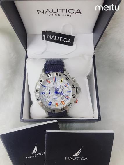 Relógio Nautica N16696g Couro Azul - Branco Promoção!