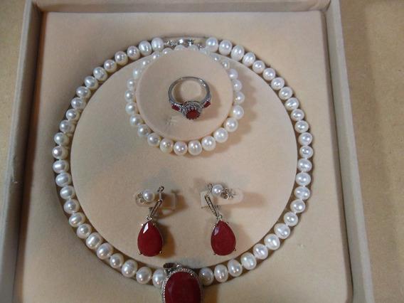 Collar, Perlas Genuinasdije,ruby,aretes,pulsera Genuinios