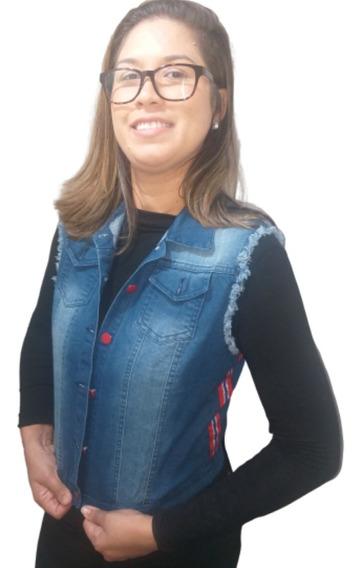 Colete Jeans 3/4 Curto Feminino Barato Top Cropped Fenda