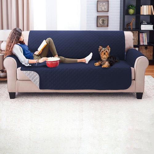Imagen 1 de 2 de Protector De Sofa 3 Puestos Doble Faz Azul Oscuro - Gris