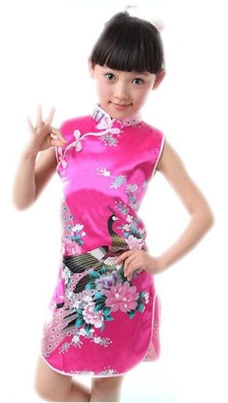 Vestido Chino De Niña Cheongsam Pavo Real De Una Sola Pieza