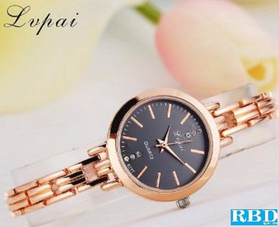 Relógio Feminino Redondo Lupai Dourado Com Fundo Preto