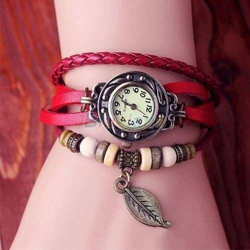 Relógio Unisex Em Couro Vintage Vermelho