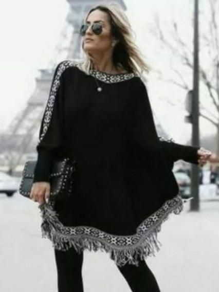 Poncho Feminino De Tricô Inverno Blusa Kimono De Frio