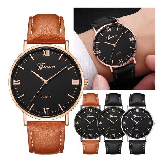 Relógio Luxo Masculino Genebra Pulso Social Pulseira Preta