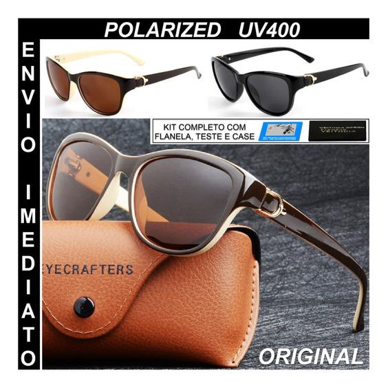 Oculos De Sol Polarizado Feminino Cat Eye Original Promoção