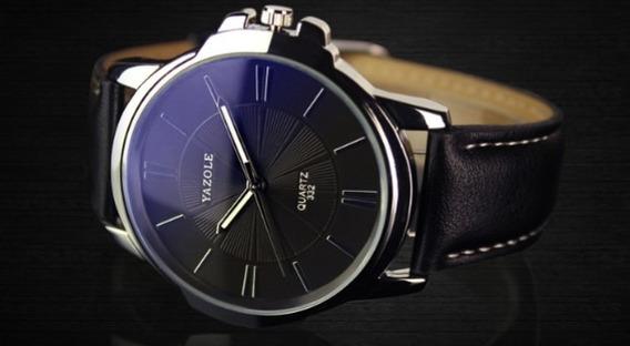 Relógio Masculino Couro/yazole Preto/fundo/preto