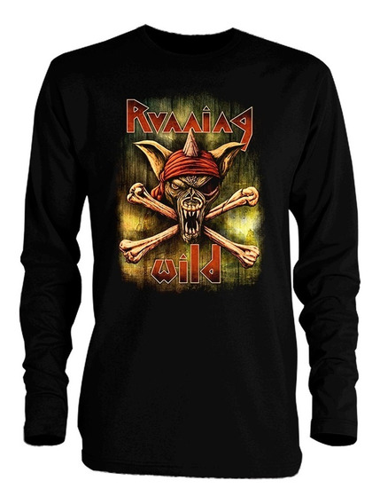 Playera Running Wild Pirates Manga Larga Iron Maiden Accept