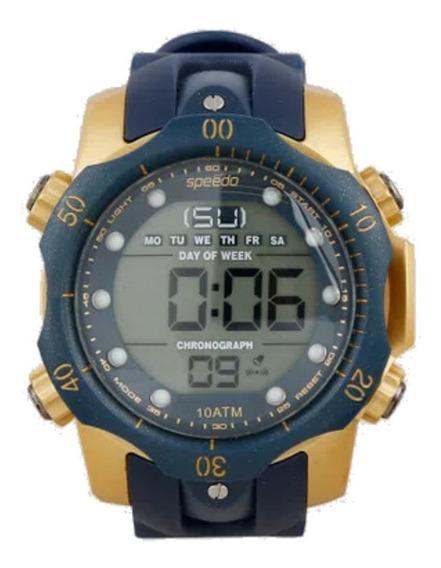 Relógio Masculino Speedo Azul E Dourado Prova Dágua Original
