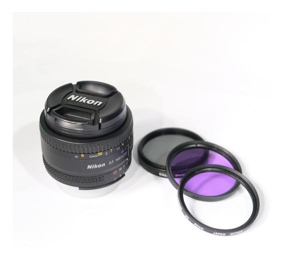 Lente Nikon 50mm Af F/1.8d Nikkor + 3 Filtros. Perfeita!