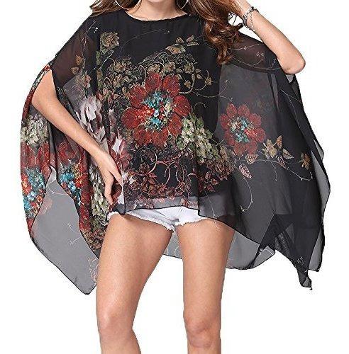 Qunsia Blusa De Gasa Para Mujer, Diseño De Poncho