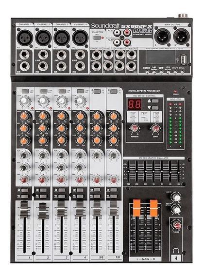 Mesa Som 8 Canais Usb C/ Efeito Soundcraft Sx802fx Selenium