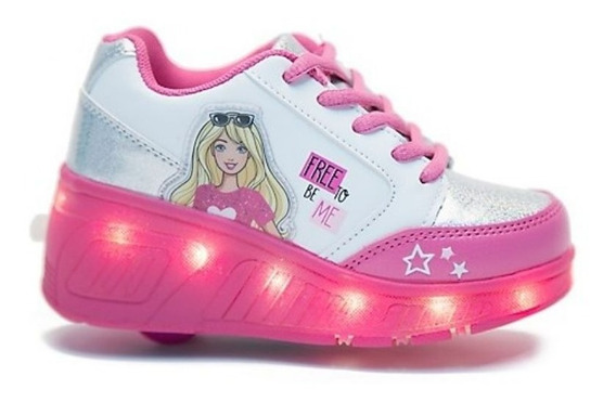 Zapatillas Footy Barbie Con Ruedas Y Luces Led Fty Calzados