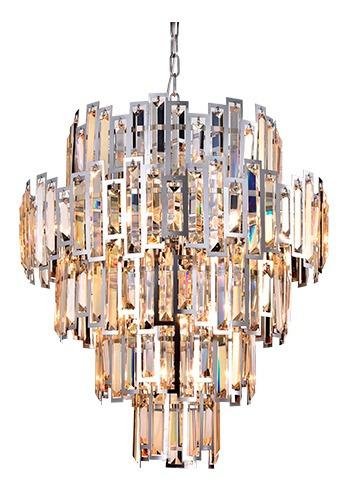 Lustre Pendente Hera 15 Lâmpadas Transparente Metal Cromado