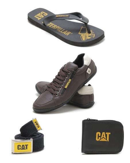 Kit Tenis Casual +chinela+carteira+cinto Caterpillar